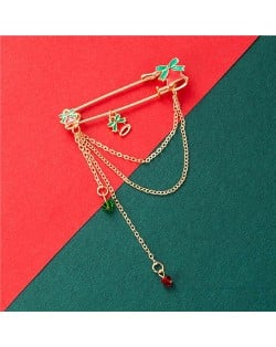 Colorful Bow-knot Bells Tassel Pendant Design Christmas Wholesale Jewelry Women Brooch