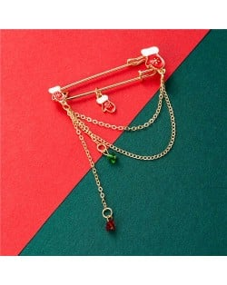 Christmas Gift Gloves Fashion Tassel Design Wholesale Jewelry Women Alloy Brooch