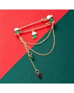 Christmas Socks Fashion Tassel Design Wholesale Jewelry Women Alloy Brooch