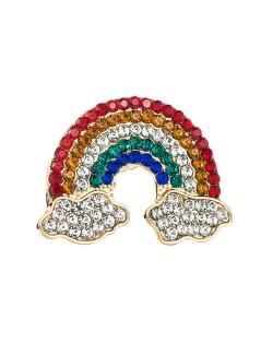 Rainbow Clouds Colorful Rhinestone Inlaid U.S. Popular Women Fashion Brooch