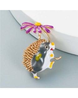 U.S. Fashion Hedgehog Little Daisy Combo Design Women Alloy Brooch - Purple