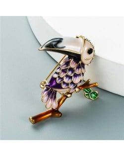 U.S. Style Creative Woodpecker Rhinestone Inlaid Unique Design Women Oil-spot Glazed Brooch - Purple