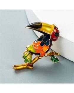 U.S. Style Creative Woodpecker Rhinestone Inlaid Unique Design Women Oil-spot Glazed Brooch - Multicolor