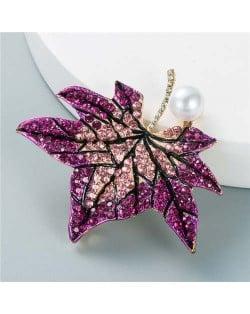 Luxurious Rhinestone Maple Leaf Shape Artificial Pearl Inlaid Women Popular Brooch - Purple