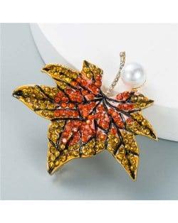 Luxurious Rhinestone Maple Leaf Shape Artificial Pearl Inlaid Women Popular Brooch - Orange