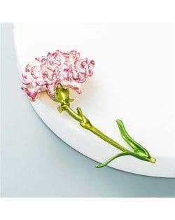 Propitious Flower Design U.S. Popular Fashion Women Oil-spot Glazed Brooch - Red