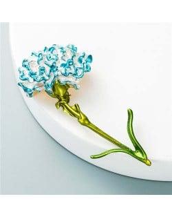 Propitious Flower Design U.S. Popular Fashion Women Oil-spot Glazed Brooch - Blue