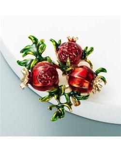 U.S. Fashion Pomegranate Theme Design Vintage Fashion Women Oil-spot Glazed Brooch