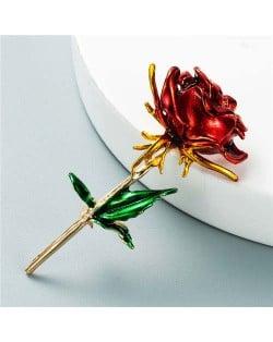 Enamel Rose Flower Boutique Design Women Oil-spot Glazed Wholesale Brooch - Red