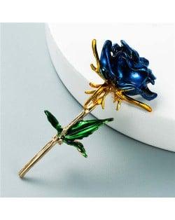 Enamel Rose Flower Boutique Design Women Oil-spot Glazed Wholesale Brooch - Blue