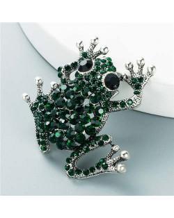 Cute Frog Shining Rhinestone Decorated Design Women Alloy Brooch - Green