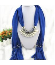 Elegant Artificial Pearls Tassels Fashion Scarf Necklace - Royal Blue