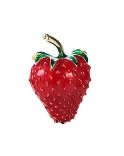 Korean Fashion Creative Cute Strawberry Design Women Alloy Brooch