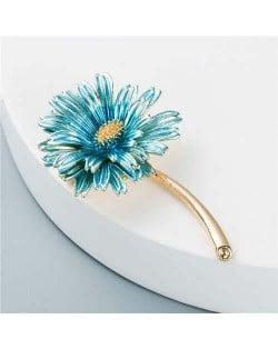 Korean Fashion Sweet Little Daisy Elegant Design Women Alloy Brooch - Light Blue