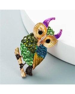 Luxurious Colorful Rhinestone Embellished Night Owl Korean Fashion Alloy Women Brooch - Green