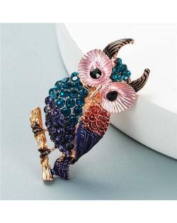 Luxurious Colorful Rhinestone Embellished Night Owl Korean Fashion Alloy Women Brooch - Blue
