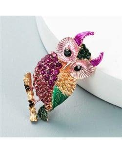 Luxurious Colorful Rhinestone Embellished Night Owl Korean Fashion Alloy Women Brooch - Pink