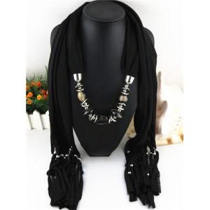 Fashionable Multiple Gems Pendants Exaggerating Scarf Necklace - Black