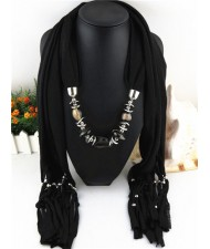 Fashionable Multiple Gems Pendants Exaggerating Scarf Necklace - Black