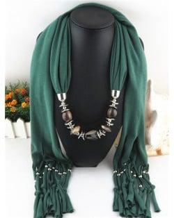 Fashionable Multiple Gems Pendants Exaggerating Scarf Necklace - Olive