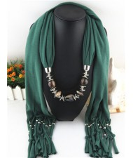 Fashionable Multiple Gems Pendants Exaggerating Scarf Necklace - Olive