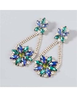 Korean Fashion Vintage Waterdrop Rhinestone Inlaid Floral Design Long Tassel Women Earrings - Blue