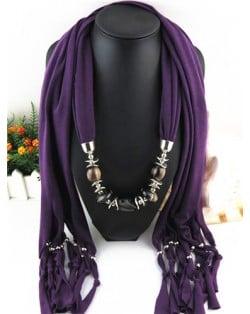 Fashionable Multiple Gems Pendants Exaggerating Scarf Necklace - Purple