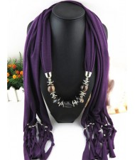 Fashionable Multiple Gems Pendants Exaggerating Scarf Necklace - Purple