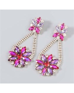 Korean Fashion Vintage Waterdrop Rhinestone Inlaid Floral Design Long Tassel Women Earrings - Rose