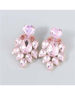 Shining Heart Shape Floral Waterdrop Glass Inlaid U.S. Bling Fashion Wholesale Boutique Trendy Earrings - Pink