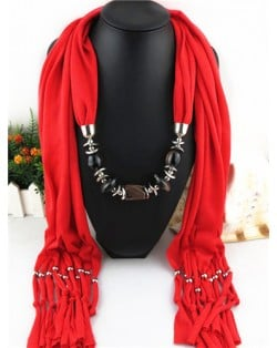 Fashionable Multiple Gems Pendants Exaggerating Scarf Necklace - Red