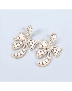 Korean Style Hollow-out Bow-knot Artificial Pearl Embellished Design Graceful Pendant Wholesale Earrings - Golden