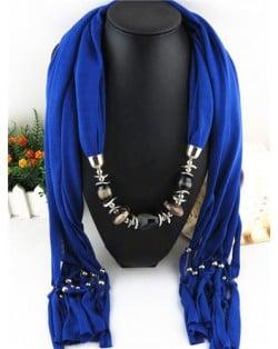 Fashionable Multiple Gems Pendants Exaggerating Scarf Necklace - Royal Blue