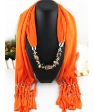 Fashionable Multiple Gems Pendants Exaggerating Scarf Necklace - Orange