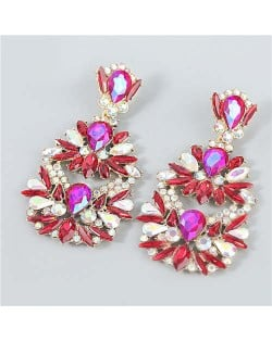 Rhinestone Floral Abstract Prints U.S. Party Fashion Women Alloy Wholesale Costume Earrings - Red