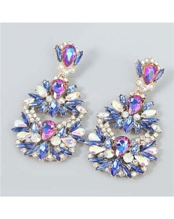 Rhinestone Floral Abstract Prints U.S. Party Fashion Women Alloy Wholesale Costume Earrings - Blue