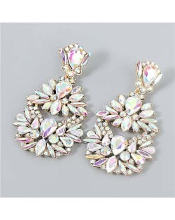 Rhinestone Floral Abstract Prints U.S. Party Fashion Women Alloy Wholesale Costume Earrings - Luminous White