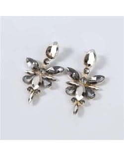U.S. Fashion Rhinestone Geometric Floral Minimalist Design Boutique Style Women Drop Earrings - Black