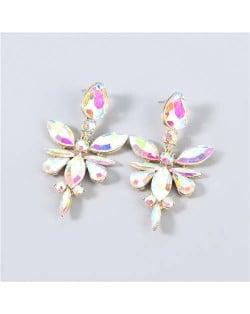 U.S. Fashion Rhinestone Geometric Floral Minimalist Design Boutique Style Women Drop Earrings - Luminous White