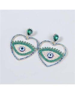 Heart Shape Hollow-out Eye Rhinestone Inlaid U.S. Fashion Women Party Costume Wholesale Earrings - Green