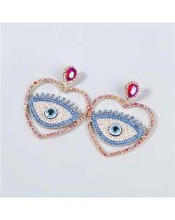 Heart Shape Hollow-out Eye Rhinestone Inlaid U.S. Fashion Women Party Costume Wholesale Earrings - Rose