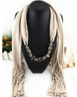 Fashionable Multiple Gems Pendants Exaggerating Scarf Necklace - Khaki