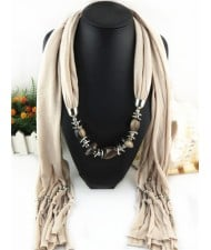Fashionable Multiple Gems Pendants Exaggerating Scarf Necklace - Khaki