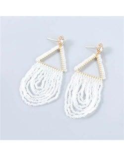 U.S. Boutique Fashion Triangle Hollow-out Beads Embellished Pendant Minimalist Acrylic Tassel Costume Earrings - White