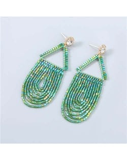 U.S. Boutique Fashion Triangle Hollow-out Beads Embellished Pendant Minimalist Acrylic Tassel Costume Earrings - Green