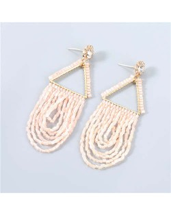 U.S. Boutique Fashion Triangle Hollow-out Beads Embellished Pendant Minimalist Acrylic Tassel Costume Earrings - Pink