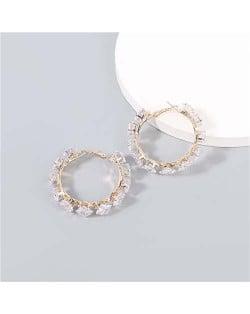 Shining Hoop Rhinestone Inlaid U.S. Fashion Banquet Style Women Wholesale Huggie Earrings - Small Golden