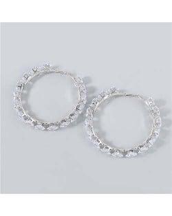 Shining Hoop Rhinestone Inlaid U.S. Fashion Banquet Style Women Wholesale Huggie Earrings - Big Silver