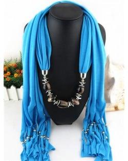 Fashionable Multiple Gems Pendants Exaggerating Scarf Necklace - Blue