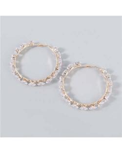 Shining Hoop Rhinestone Inlaid U.S. Fashion Banquet Style Women Wholesale Huggie Earrings - Big Golden